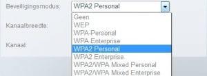 WPA 2 beveiliging